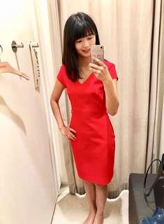 🚚 -正版Mango $1290 購入- 大紅修身長洋裝