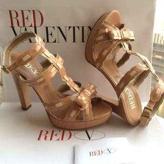Red Valentino   Patent Leather Heel Sandal Shoes   ** Made in Italy  Size 38  **
