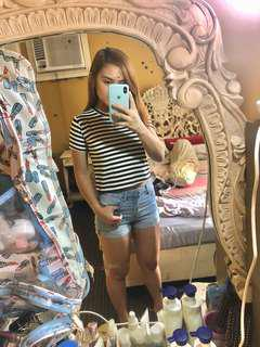 Black and White stripes semi cropped top