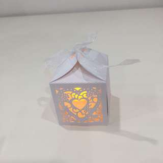 Tea light Candles With White Laser Cut Box