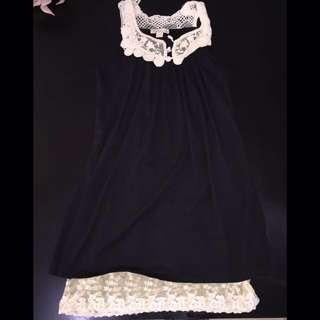 Sleeveless Black Cotton And Lace Dress