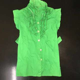 Green Ruffled Top