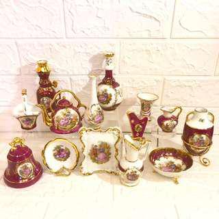 🚚 歐洲名瓷法國Limoges紅色情侶描金 擺飾品 珍藏