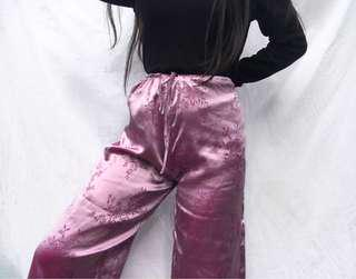 VINTAGE SILK WIDE LEG PANTS