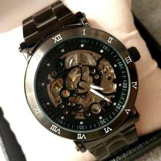 全自動黑鋼陀飛輪機械鋼帶手錶 Original Automatic Black Steel Tourbillon Mechanical Stainless Steel Watch