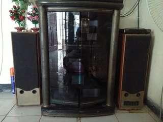 Rak TV tinggi bonus speaker aktif