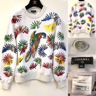 寬鬆衛衣 Chanel parrot white sweater size 34