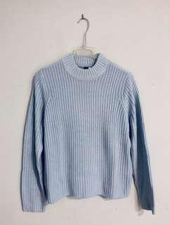 Powder Blue Rib-Knit Sweater (Worn Once)