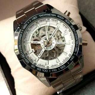 全自動銀鋼機械陀飛輪鋼帶手錶 Original Automatic Silver Steel Machinery Tourbillon Stainless Steel Watch