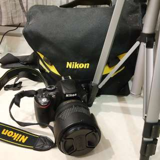 Nikon D5100 + 18-105 lens + tripod + 32gb SD card