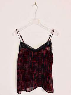 Black Lace Red Print Camisole (Never Worn)