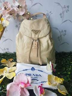 Authentic Prada Beige Backpack