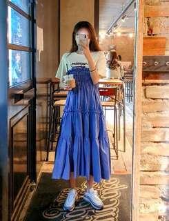🚚 韓國連線❤️假兩件抓皺洋裝