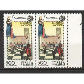 ITALY 1981 EUROPA ISSUE CHESS GAME WITH HUMAN PIECES MAROSTICA PAIR 2 STAMPS SC#1455 IN MINT MNH UNUSED CONDITION