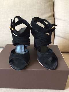 LV black suede leather strap heels sz 36