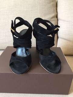 LV black suede leather strap heels sz 36