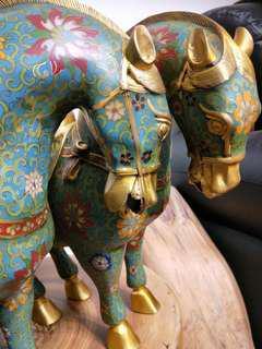 景泰藍 銅胎掐絲琺瑯 早期老件 唐馬一對