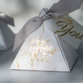 🚚 Party supply Triangular Pyramid Marble Paper Gift Box for wedding gift birthday party