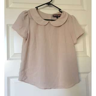 Princess Highway Size 6 Nude/Light Pink Peter Pan Collar Top