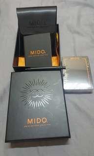 瑞士Mido錶一百週年珍藏纪念品:真皮笔记袋連笔、簿、撲克牌