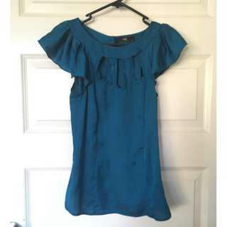 Cue Size 6 Blue Flutter Sleeve Top