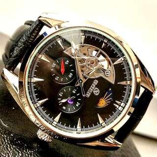 全自動銀鋼機械陀飛輪真皮手錶 Original Automatic Silver steel Mechanical Tourbillon Genuine Leather Watch