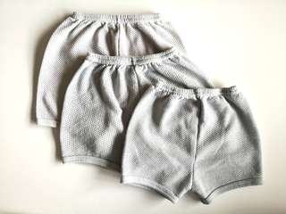 PRELOVED Set of 3 Baby's White & Light Blue Airy Cotton Short Pants - in good condition