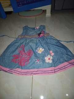 Dress blue jeans floral flower pink