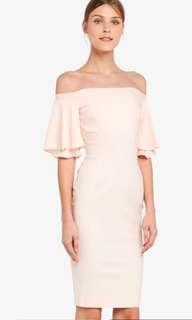Off Shoulder Pink/cream Dress