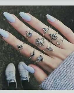 Cincin multi silver diamond flower  Cincin Multi Silver Diamond Flower