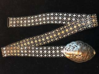 1900's (Early-Mid) Old Straits Settlements Malayan Peranakan Pure Vintage Silver Very Rare Antique Ladies 3-Links Belt. Well-Toned.