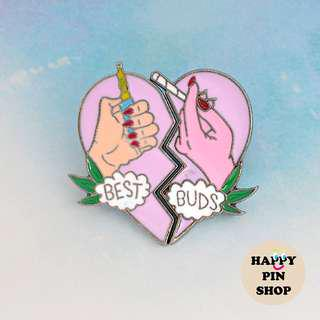 Best Buds Heart Enamel Pin pair (BFF Series, Friends4Ever)