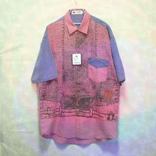 三件7折🎊 Jiaser Carmain 短袖襯衫 襯衫 淡紫桃粉 大圖 胸前口袋 極稀有 老品 復古 古著 Vintage