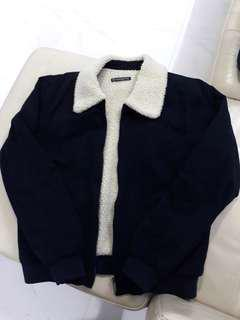 🚚 Navy Nelson Sherpa Fur Collared Jacket