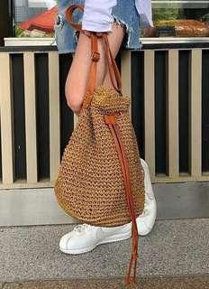 🚚 編織草包水桶包夏天包包 草編包straw bag bucket bag