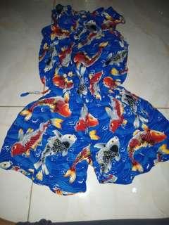 Baju koi jumpsuit merah biru baju pantai take all