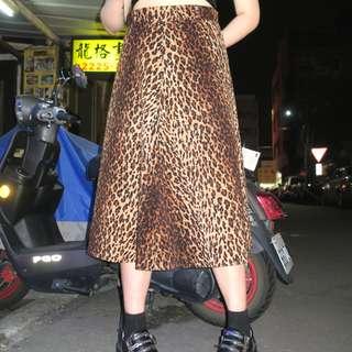 「豹紋 90S 古著 復古 裙子 @一中 舊到過去 腰: 29inch 長: 74cm」