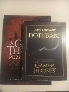 Game of thrones themed quiz book and offical Dothraki language set
