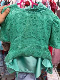 Bellebabies peplum kurung in mint green