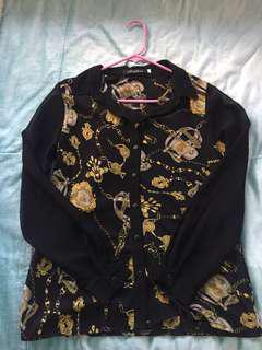 Yellow & black long sleeve button up shirt size 6