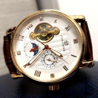 全自動機械金鋼日月星水晶玻璃面真皮手錶Original Automatic Mechanical Gold Steel Sun and moon stars Crystal glass surface Genuine Leather Watch