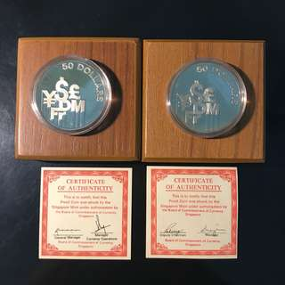 💰 1980 & 1981 Singapore 🇸🇬 $50 Silver Proof, Financial Centre Major International Currency Symbols. Good Condition With Certificate And Box 💰