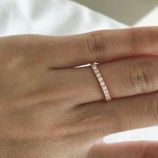 18K 天然鑽石戒指 排鑽