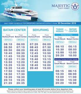MAJESTIC FERRY TICKET, SINGAPORE - BATAM - SINGAPORE. PHYSICAL TICKETS.