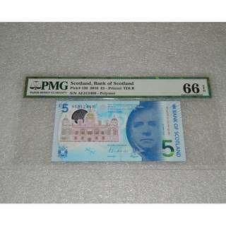 2016 UK Scotland Bank of Scotland 5 Pounds  PMG 66 EPQ Gem UNC