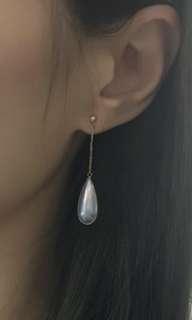 NEW, 18k金稀有日本極光藍色海水馬貝珠瘦水滴型耳環