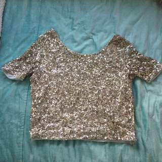 Gold sequinned top size M