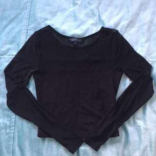 Glassons black cropped top size 6