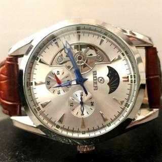 全自動陀飛輪日月星晨機械真皮手錶 Original Automatic Tourbillon Sun and Moon Star Mechanical Genuine  Leather Watch