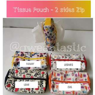 PERSONALIZED - TISSUE POUCH WITH 2 SIDED ZIP